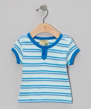 Ocean Blue Stripe Organic Henley - Infant, Toddler & Boys