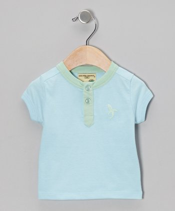 Ocean Blue & Lime Organic Henley - Infant, Toddler & Boys