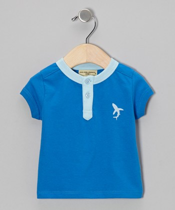 Blue Shark Organic Henley - Infant, Toddler & Boys