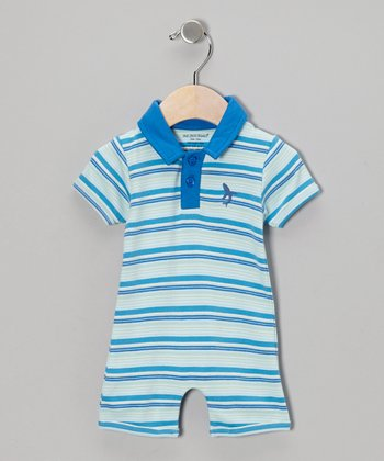 Ocean Blue Stripe Organic Polo Romper - Infant