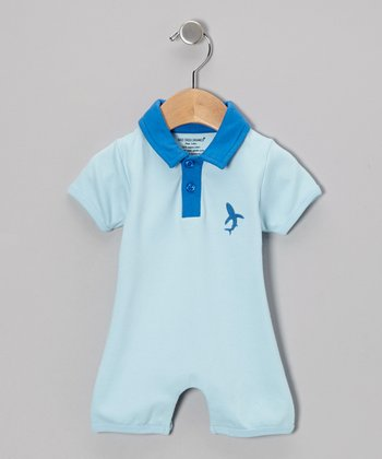 Light Blue Organic Polo Romper - Infant