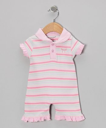 Light Pink Stripe Organic Polo Romper - Infant
