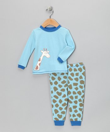Blue Giraffe Organic Pajama Set - Infant & Kids