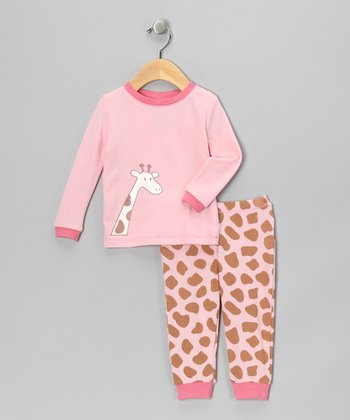 Pink Giraffe Organic Pajama Set - Infant & Kids