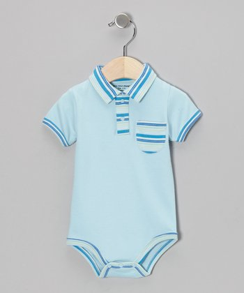 Light Blue Stripe Organic Polo Bodysuit