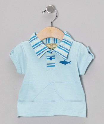 Light Blue Shark Organic Polo - Infant, Toddler & Boys
