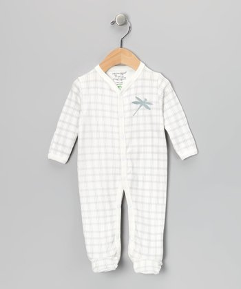 Gray Plaid Dragonfly Organic Footie