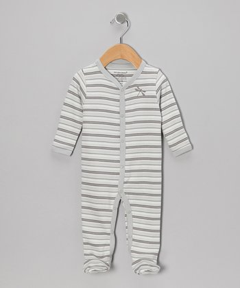 Gray Stripe Organic Footie - Infant