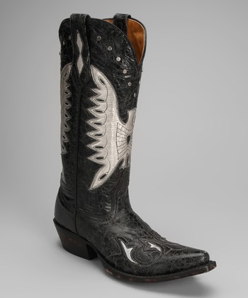 Barn Black Leather T-Toe Distressed Eagle Western Boot - Women