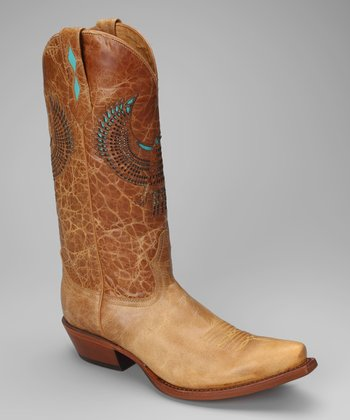 Tan Leather T-Toe Distressed Western Boot - Women