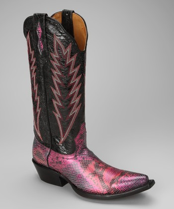 Pink & Black Leather T-Toe Distressed Western Boot - Women