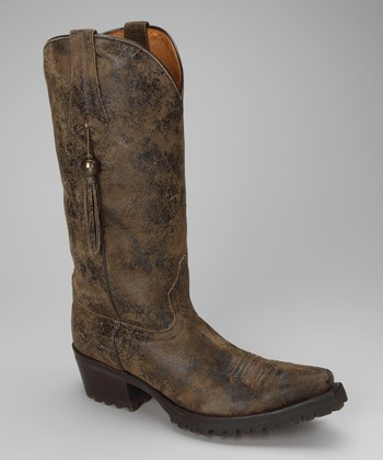 Brown & Black Leather T-Toe Distressed Western Boot - Women