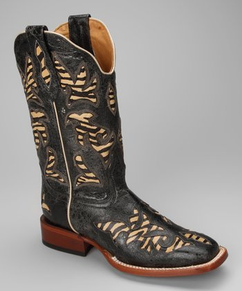 Barn Black Leather C-Toe Distressed Zebra Western Boot - Women