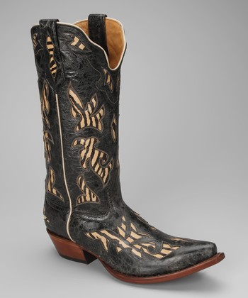 Barn Black Leather T-Toe Distressed Zebra Western Boot - Women