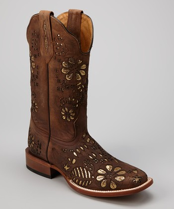 Rust Leather C-Toe Western Boot - Women