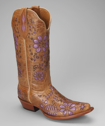 Tan & Purple Leather T-Toe Floral Western Boot - Women