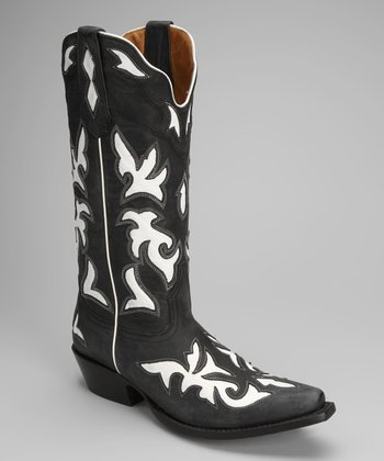 Black & White Leather T-Toe Western Boot - Women
