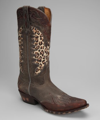 Brown Leather T-Toe Eagle Distressed Western Boot - Women