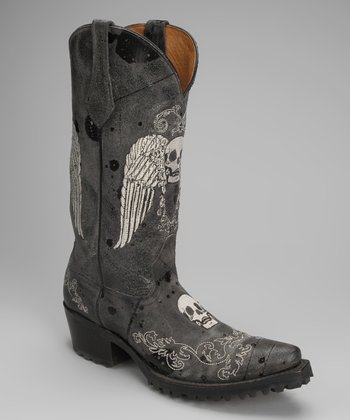 Black Leather T-Toe Skull Western Boot - Women