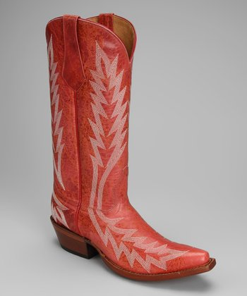 Pink Leather T-Toe Rays Stitch Western Boot - Women
