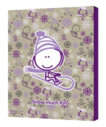 Purple Sledding 'Snow Much Fun' Wall Art