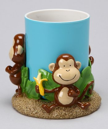 Blue Tumbler & Brown Monkey Cup Holder