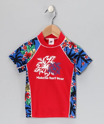 Makena Red & Royal Hawaiian Rashguard - Toddler & Boys