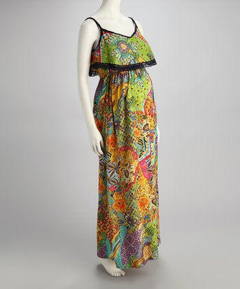 Yellow & Green Floral Maternity Maxi Dress - Women