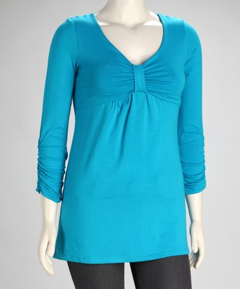 Teal Pika Bubi Three-Quarter Sleeve Nursing Top - Women
