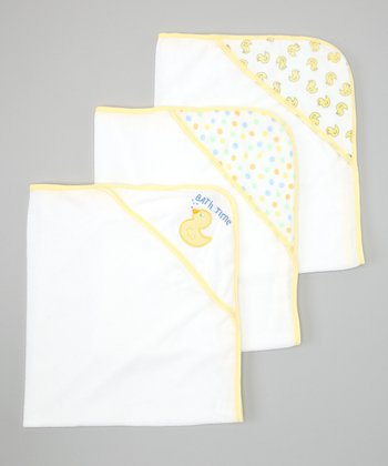 Yellow Polka Dot & Duck Hooded Towel Set