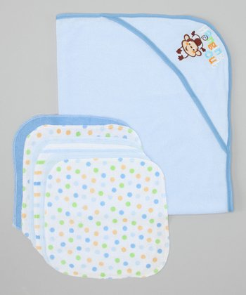Blue 'Hanging Out' Hooded Towel & Washcloth Set