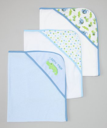 Blue Polka Dot & Zoo Hooded Towel Set