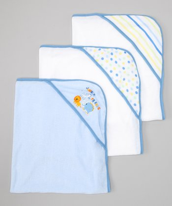 Blue Polka Dot & Jungle Animal Hooded Towel Set