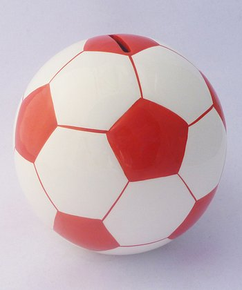 Agnik Design Red Soccer Ball Money Bank