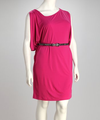 Carmine Belted Plus-Size Dress