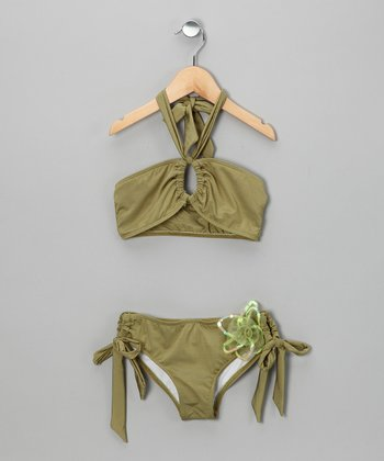 Green Flower Bandeau Bikini - Girls