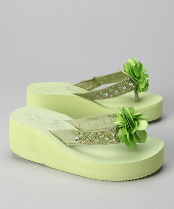 Green Flower Wedge Flip-Flop