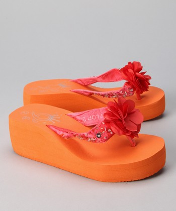 Orange Flower Wedge Flip-Flop