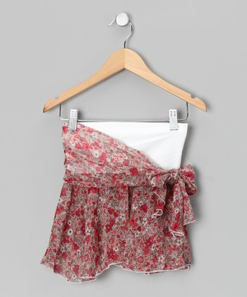 Red Floral Side-Tie Wrap Skirt - Girls