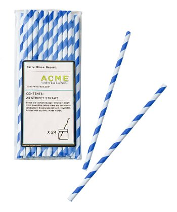 Blue Stripe Straw - Set of 24