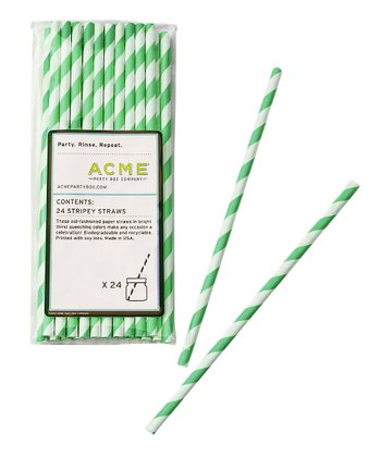 Green Stripe Straw - Set of 24