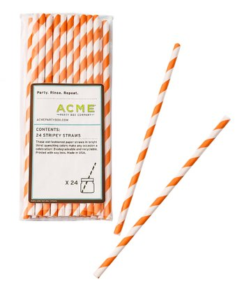 Orange Stripe Straw - Set of 24