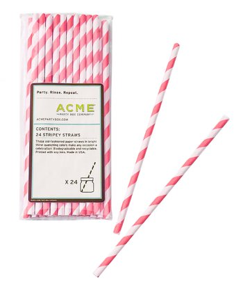 Pink Stripe Straw - Set of 24