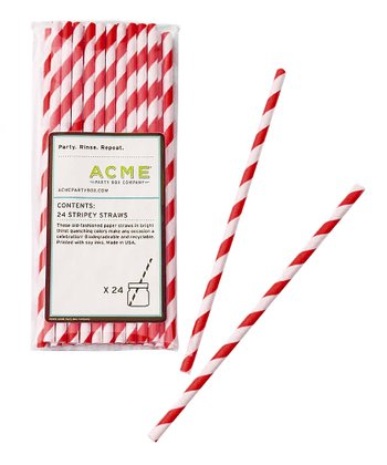 Red Stripe Straw - Set of 24