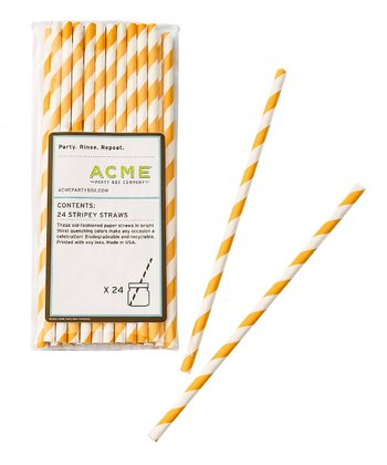 Yellow Stripe Straw - Set of 24