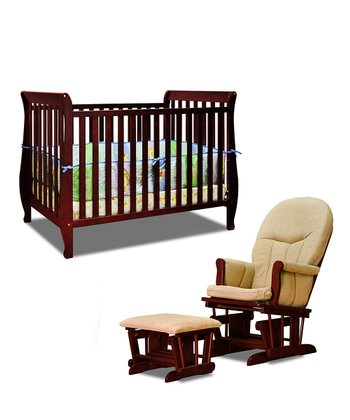 Cherry Naomi Convertible Crib & Glider Set