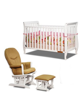 White Naomi Convertible Crib & Glider Set