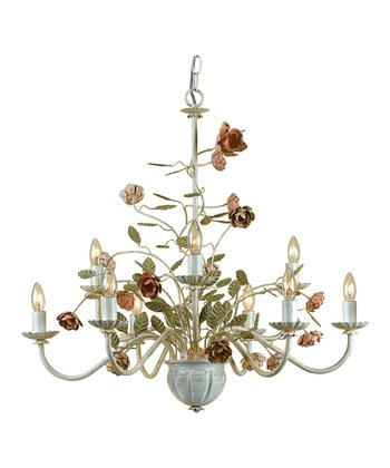 Antique Cream Ramblin' Rose Chandelier