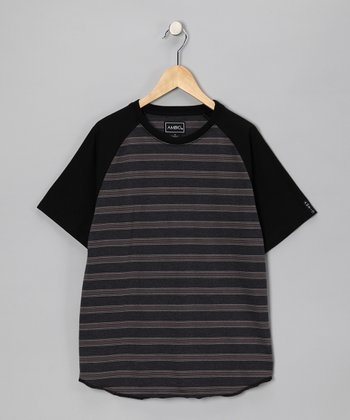 Black Stripe Mercury Raglan Tee - Boys