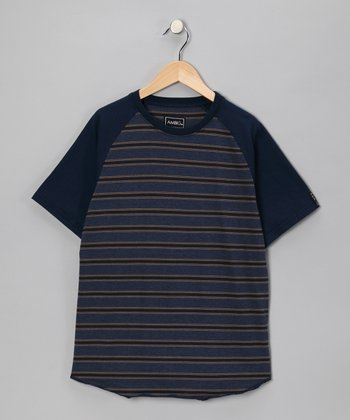 Navy Stripe Mercury Raglan Tee - Boys